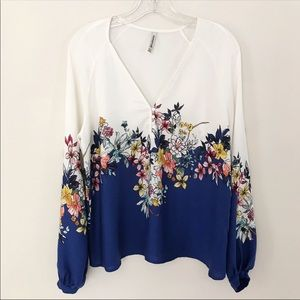 Stradivarius Blue/White Floral Long Sleeve Top